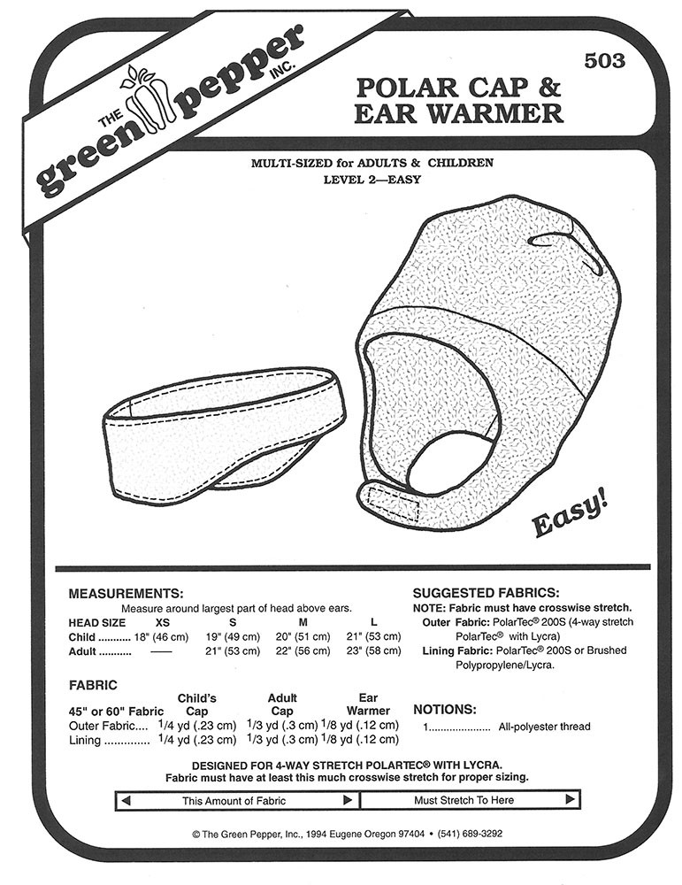 Sewing Pattern - Polar Fleece Cap Pattern & Ear Warmer Pattern for ...