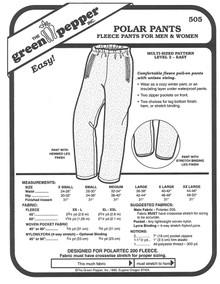Sewing Pattern - Unisex Polar Fleece Pants, Unisex Pattern Green Pepper Patterns