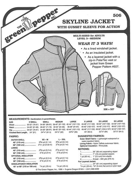 Sewing Pattern - Adults Skyline Jacket, Unisex Jacket Pattern, Jacket Pattern Green Pepper Patterns