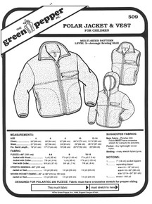 Sewing Pattern - Children's Polar Fleece Jacket Pattern and Vest Pattern- Green Pepper Patterns