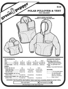 Sewing Pattern - Children's Polar Fleece Pullover Pattern and Vest Pattern- Green Pepper Patterns