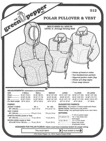 Sewing Pattern - Unisex Polar Fleece Pullover Pattern, Vest Pattern, and Jacket with Hood, Unisex Pattern, Green Pepper Patterns
