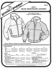 Sewing Pattern - Men's Blue Mountain Jacket Pattern, Green Pepper Patterns