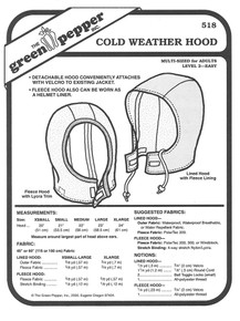 Sewing Pattern - Adults Cold Weather Hood Pattern - Green Pepper Patterns
