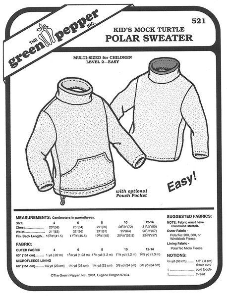 Sewing Pattern - Children's Polar Fleece Mock Turtle Neck Pattern with Kangaroo Pocket - Green Pepper Patterns