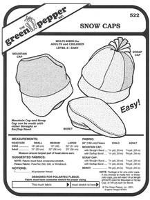 Sewing Pattern - Polar Fleece Snow Caps Pattern for Both Adults and Children- Green Pepper Patterns