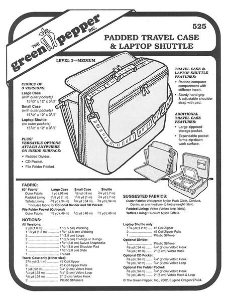 Sewing Pattern - Padded Travel Case Pattern, Padded Laptop Case Pattern, Green Pepper Patterns