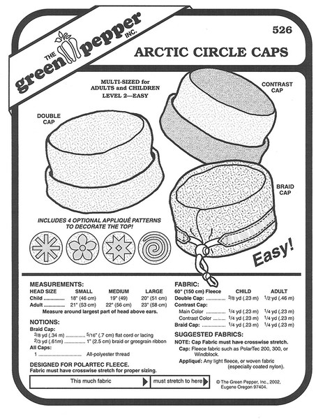 Sewing Pattern - Polar Fleece Artic Circle Caps with Four Applique Patterns Adults and Children- Green Pepper Patterns