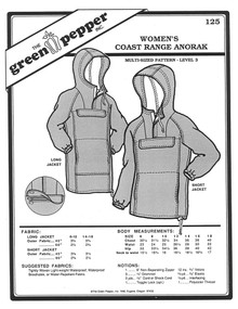 Sewing Pattern - Women's Pattern, Coast Range Anorak, Long Rain Jacket Pattern and Short Rain Jacket Pattern, Green Pepper Patterns