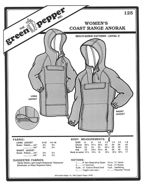 Sewing Pattern - Women's Pattern, Coast Range Anorak, Long Rain Jacket Pattern and Short Rain Jacket Pattern, Green Pepper Patterns