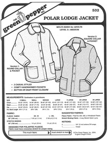Sewing Pattern - Adults Polar Lodge Jacket, Unisex Jacket Pattern, Jacket Pattern, Green Pepper Patterns