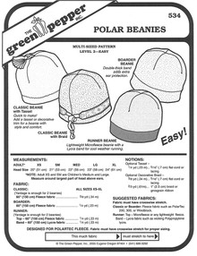 Sewing Pattern - Polar Fleece Beenies Pattern for Both Adults and Children- Green Pepper Patterns