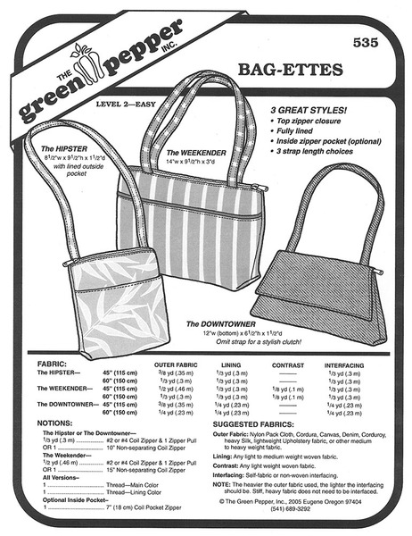 Sewing Pattern - Bag-ettes Pattern, Green Pepper Patterns