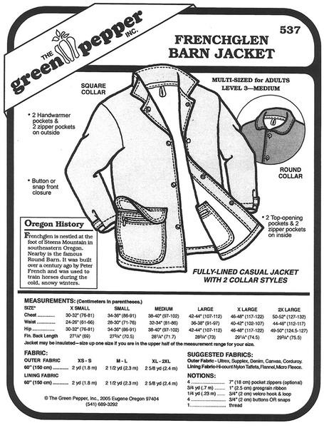 Sewing Pattern - Unisex Sewing Pattern Frenchglen Barn Jacket Pattern Green Pepper Patterns