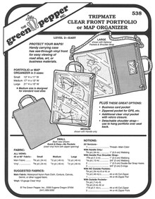 Sewing Pattern - Tripmate Clear Front Portfolio/Map Organizer Pattern, Green Pepper Patterns