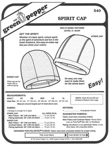 Sewing Pattern - Polar Fleece Stripe Cap Pattern for Both Adults and Children- Green Pepper Patterns