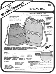 Sewing Pattern - String Bag Pattern, Green Pepper Patterns