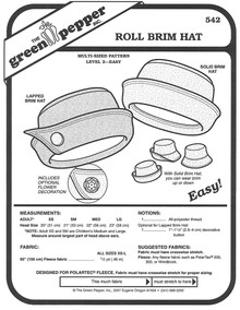 Sewing Pattern - Roll Brim Hat Pattern for Both Adults and Children- Green Pepper Patterns