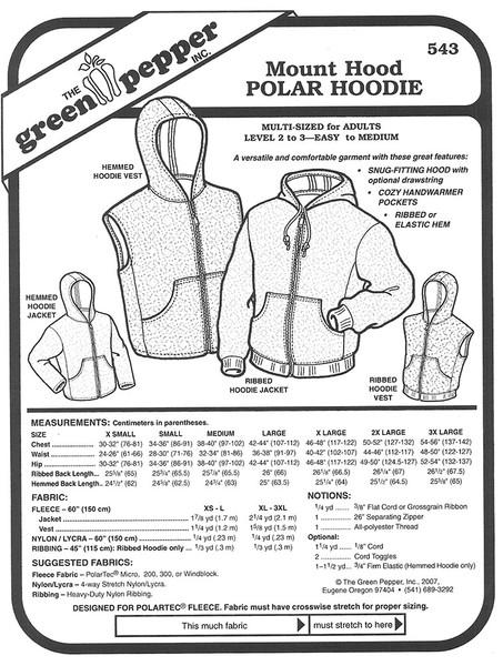Sewing Pattern - Unisex Sewing Pattern Mount Hood Polar Feece Hoodie, Green Pepper Patterns
