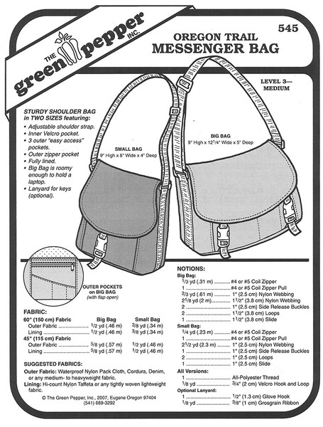 Sewing Pattern - Oregon Trail Messenger Bag Pattern, Green Pepper Patterns