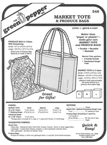 Sewing Pattern - Eco Friendly Grocery Bag and Produce Tote, Green Pepper Patterns