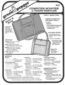 Sewing Pattern - Computer Scooter and Padded Briefcase, Green Pepper Patterns