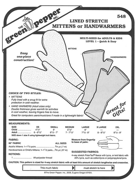 Sewing Pattern - Lined Stretch Mittens or Handwarmers Adults and Children- Green Pepper Patterns