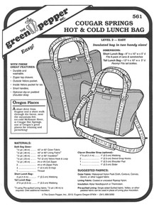 Sewing Pattern - Eco Friendly Hot and Cold Lunch and Picnic Bags, Green Pepper Patterns