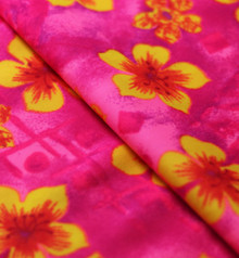 Stretch Fabric - Neon Tropical, Pink and Yellow Tropical Floral Print Fabric- Folded to Show Texture