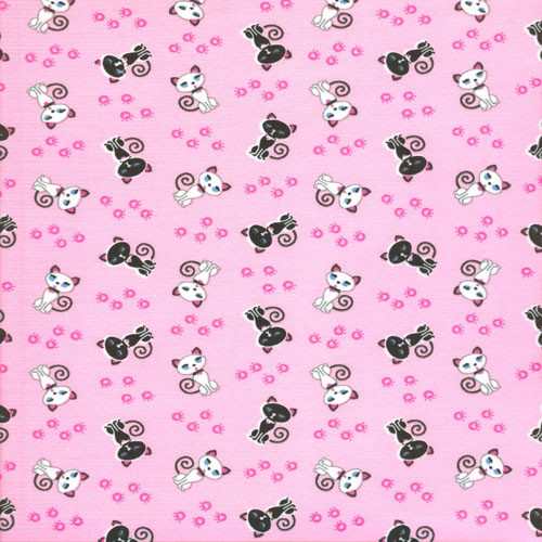 Matte Stretch Fabric - Kitty Print Fabric, Pink Four way Stretch Spandex Fabric