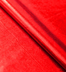 Stretch Fabric-Metallic Red Foil on Red Polyester Jersey Four way Stretch Spandex Fabric  Picture Taken with Studio Lights Inside