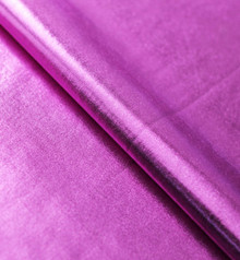 Metallic Magenta Foil on Purple Polyester Jersey Four way Stretch Spandex Fabric Picture Taken Indoors Under Studio Lights