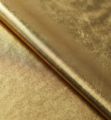Stretch Fabric-Metallic Gold Foil on Gold Polyester Jersey Four way Stretch Spandex Fabric  Picture Taken Inside under Studio Lighting