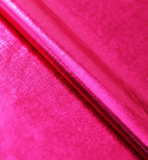 Stretch Fabric - Metallic Rosemary Foil on Rosemary Polyester Jersey Four way Stretch Spandex Fabric Picture Taken inside with Studio Lighting