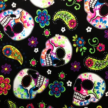 Stretch Fabric - NEON UV Glow Sugar Skulls Print , Four way Stretch Spandex Fabric, Mexican Skull Print,