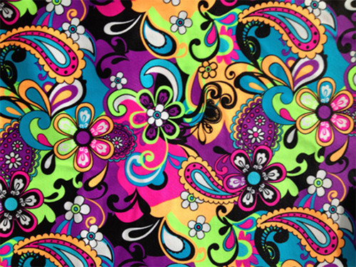 Printed Spandex Fabric: Neon Paisley Floral Print Four way Stretch Fabric