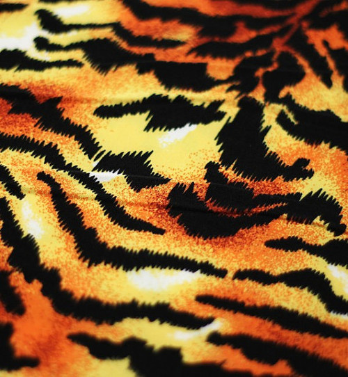 Animal Print Fabric, Tiger Print Fabric by the Yard,  Swimsuit Fabric, Stretch Fabric, Spandex Fabric, Printed Lining Fabric.