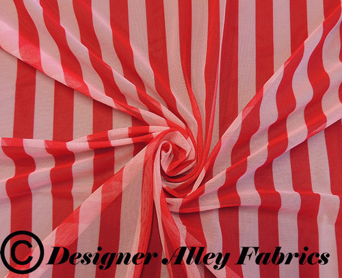 Stretch Mesh Fabric, Red and White Stripe Mesh,Swimsuit Fabric by the Yard,Stretch Mesh,Stripe Fabric by the Yard, shown in a swirl pattern for lighting purposes.
