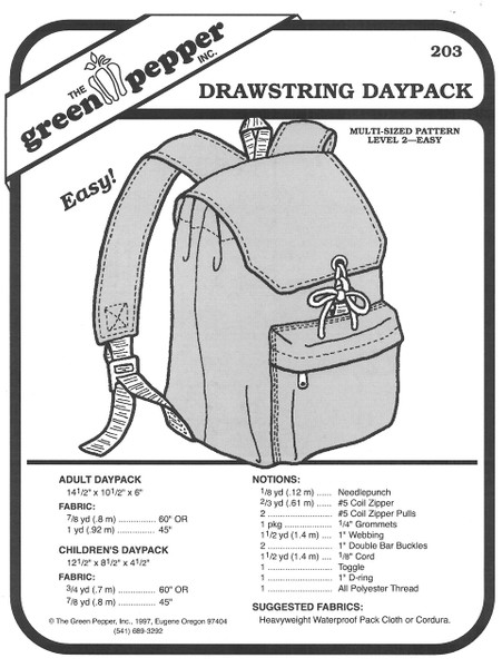 Green Pepper Sewing Patterns,Day Pack Pattern, Travel Bag Pattern