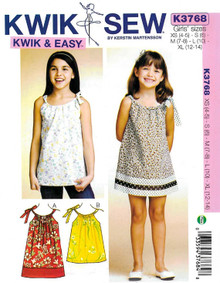 Sewing Pattern - Girls Dress and Tunic with Bow Tie Detail Kwik Sew # K3768