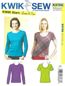 Sewing Pattern - Misses Tops Long Sleeve and Short Sleeve Kwik Sew # K3766