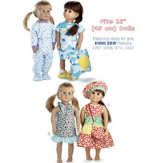 Sewing Pattern - Doll Clothes Pattern, Dress Pattern, Pajama Pattern Kwik Sew #K3771