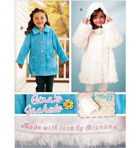 Sewing Pattern - Girls Pattern, Jackets Pattern, Muff Pattern, Kwik Sew #K3919