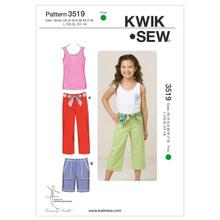 Sewing Pattern - Girls Pattern, Shirts Pattern, Pants Pattern, Kwik Sew #K3519