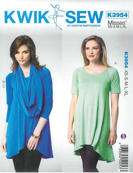 Sewing Pattern: Misses' Knit Tunic and Scarf Pattern Kwik Sew # K3954