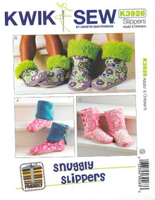 Sewing Pattern: Adults' and Children's Snuggly Slippers Pattern Kwik Sew # K3926