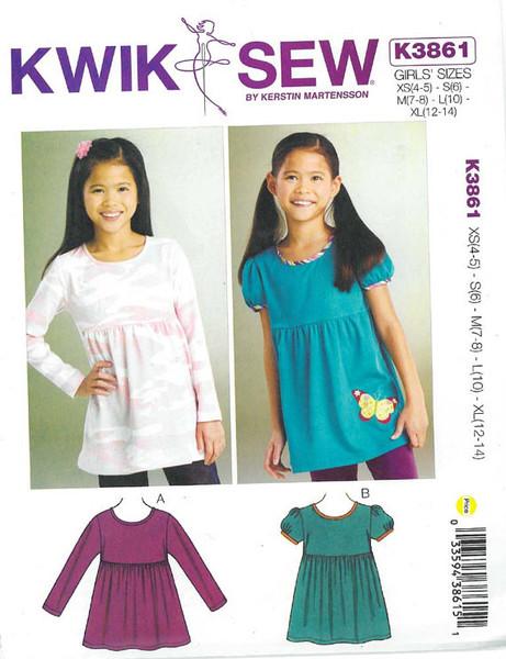 Sewing Pattern - Girls Butterfly Tops Pattern Kwik Sew # K3861