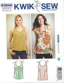 Sewing Pattern - Misses' Tank Tops Pattern Kwik Sew # K3848