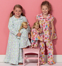 Sewing Pattern - Ellie Mae Designs Pajama Pattern, Girls's Pajama Pattern, Doll Pajama Pattern Kwik Sew #K0157