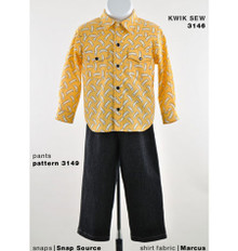 Sewing Pattern - Toddler Pattern, Children's Pattern, Western Style Yoke Button Down Shirt Pattern, - Kwik Sew #K3146